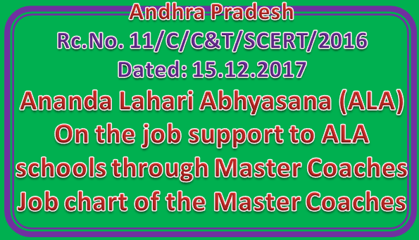 AP SCERT Rc No 11 || On the job support to ALA schools through Master Coaches - Job chart of the Master Coaches - Orders issued