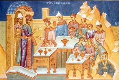 Orthodox icon of the parable of the wedding banquet in the Gospel of Luke