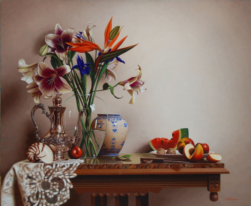 04-Lilies-with-Tea-Mark-Thompson-Photo-Realistic-Still-Life-Paintings-www-designstack-co
