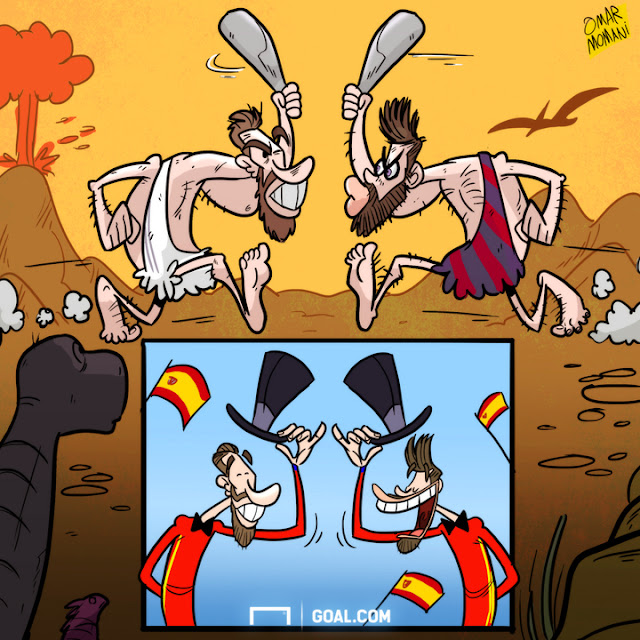 Ramos and Pique cartoon