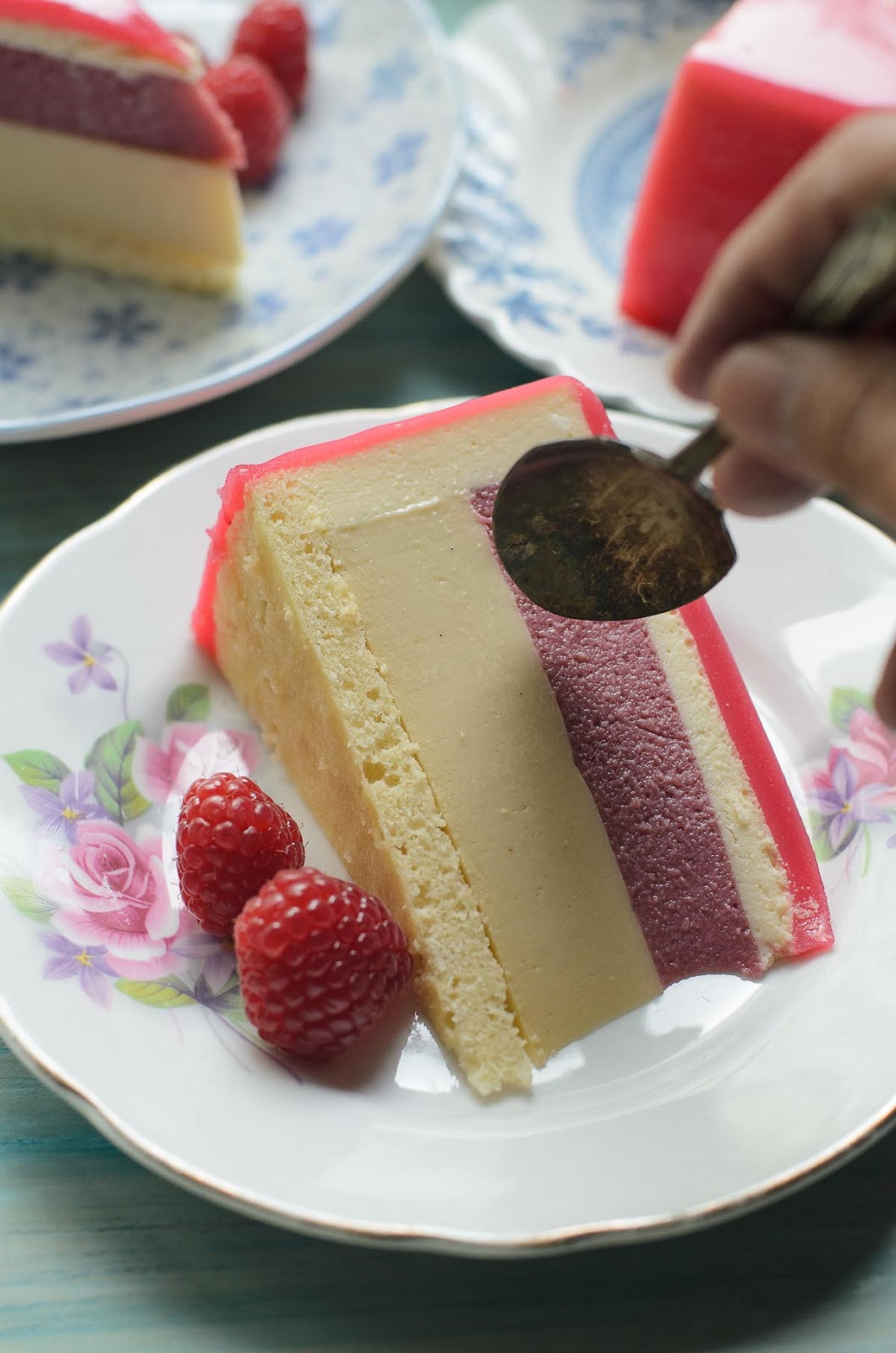 Honey, Raspberry White Chocolate Bavarois Entremet photo