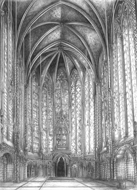 Pencil Drawing of Gothic Cathedrals