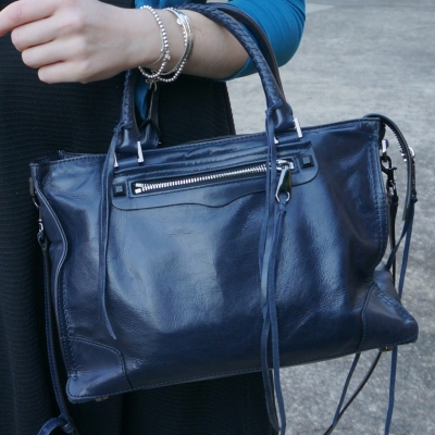 little black dress with navy moon rebecca minkoff shiny leather regan bag | awayfromtheblue