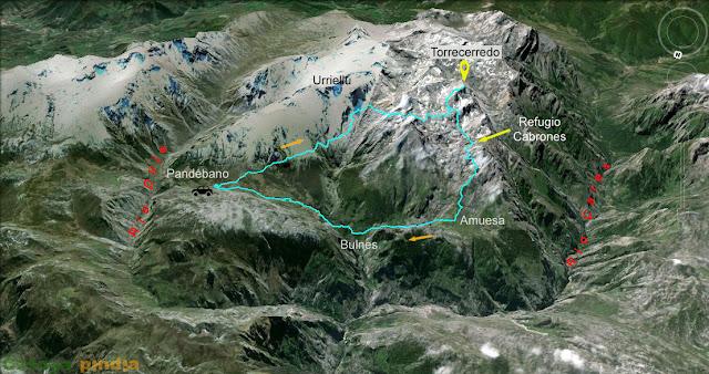 """Mapa de la ruta señalizada al Pico Torrecerredo """"techo de los Picos de Europa"""""""