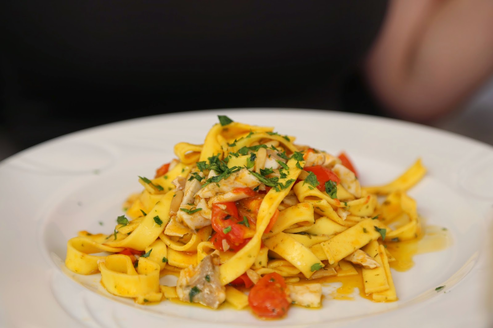 Tagliatelli with tomatoes and sea bream, Cefalu, Sicily