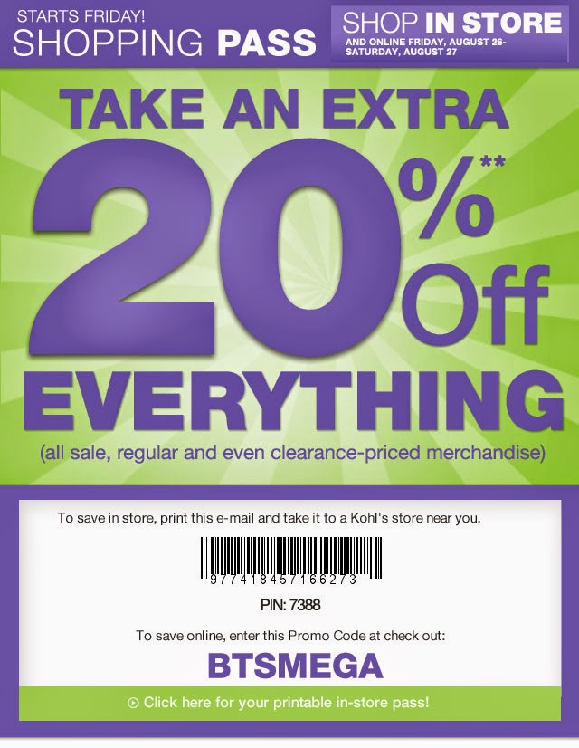 Kohls department store coupons