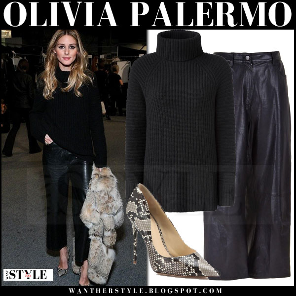 Olivia Palermo in black turtleneck iris von arnim sweater and black cropped tibi anesia leather pants what she wore front row