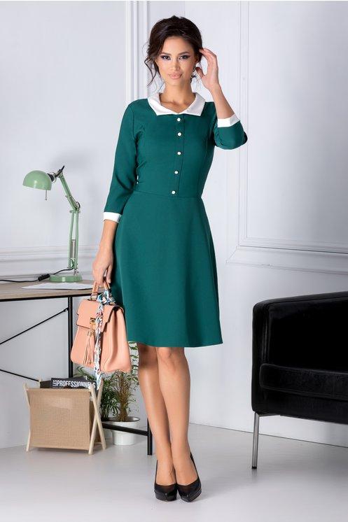 Rochie de birou eleganta verde cu guler alb Maneci trei sferturi