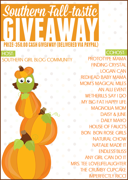 Southern Fall-tastic Giveaway #SouthernFallGiveaway Ends 10/13 via www.productreviewmom.com