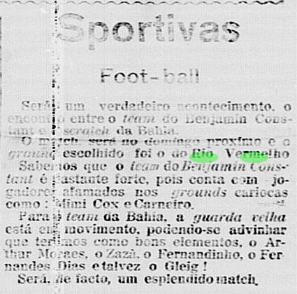 Avisos de futebol no Rio Vermelho em 1914 e 1915