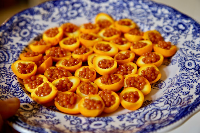 orange quail eggs filled with carrot caviar British Organic Carrot supper club Pic: Kerstin Rodgers/msmarmitelover.com