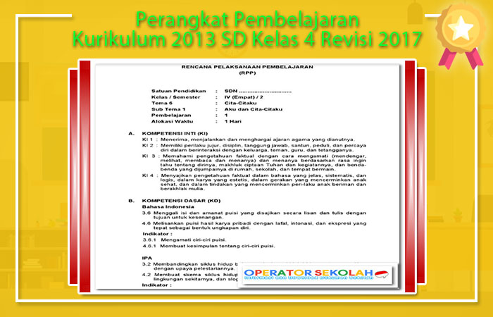 Perangkat Pembelajaran Kurikulum 2013 SD Revisi 2017