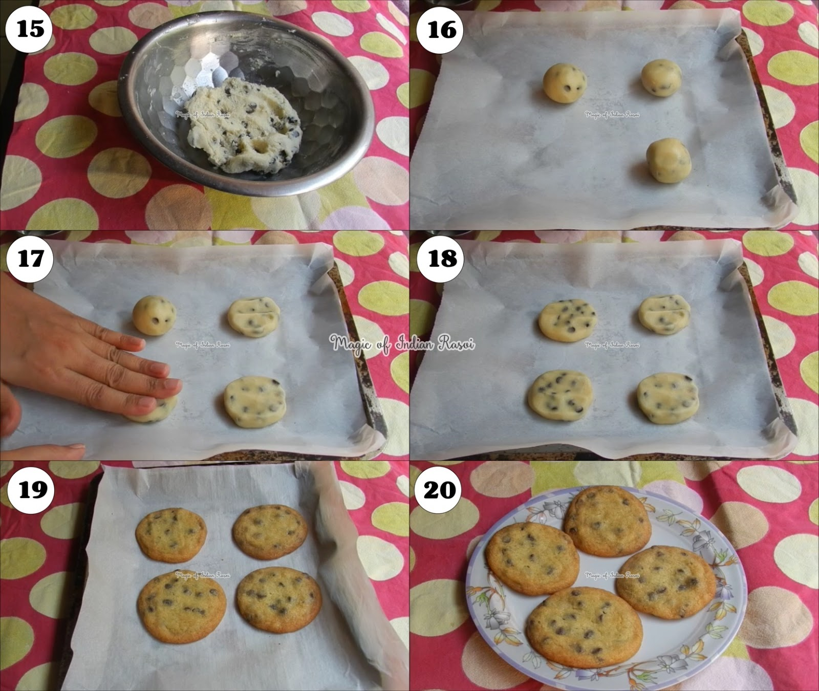 Eggless Chocolate Chip Cookies Recipe - Best Chocolate Chip Cookies at Home - एग्ग्लेस चॉकलेट चिप कुकीज रेसिपी - घर पर बनाये सर्वश्रेष्ठ चॉकलेट चिप कुकीज - Priya R - Magic of Indian Rasoi