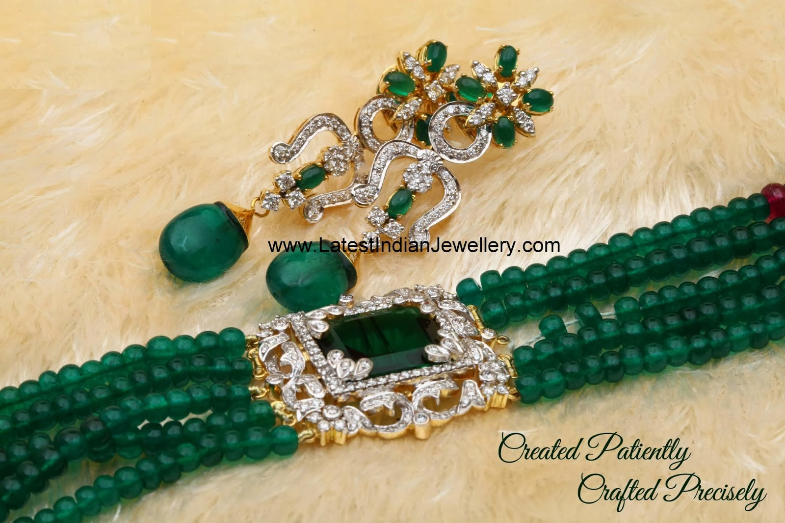 Emerald Beads with Diamond Mugappu