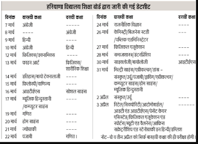Hbse 12th date sheet new