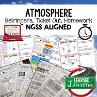 Atmosphere Worksheets, Earth Science NGSS Bellringers, Science Warm Ups, Science Homework, Science Ticket Out