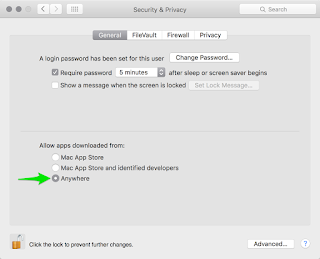 Preferences in OS X that show how to disable Gatekeeper and enable any application to run without warning