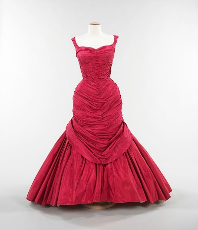 Red Ballgown by Charles James 1955 named Tree displayed on mannequin
