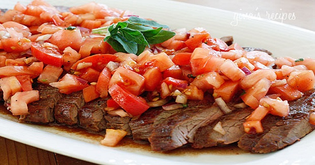 Grilled Flank Steak With Tomatoes, Red Onion And Balsamic Recipe