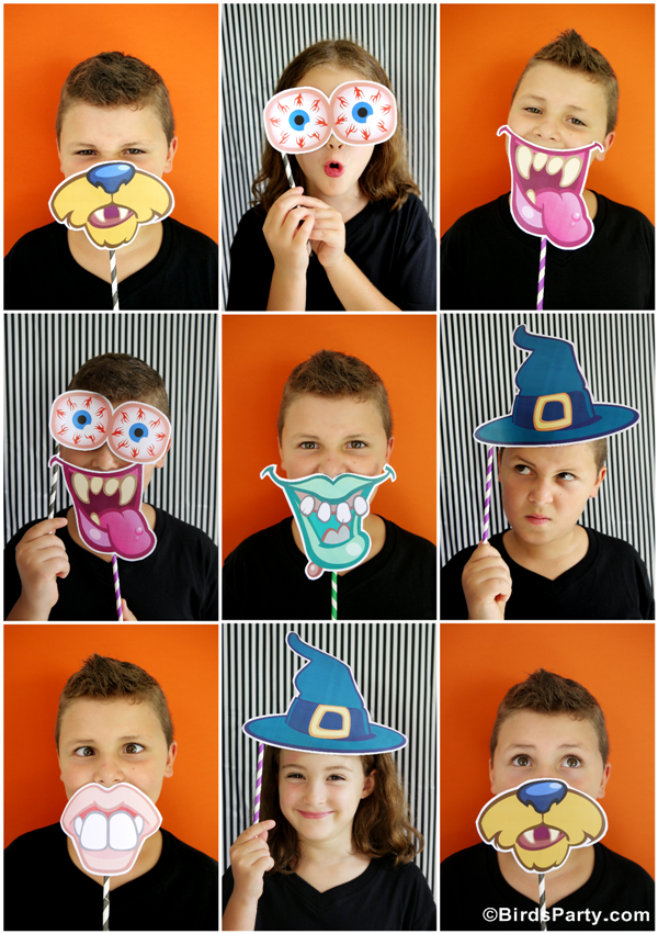 DIY Halloween Party Photo Booth with Free Printables - Party