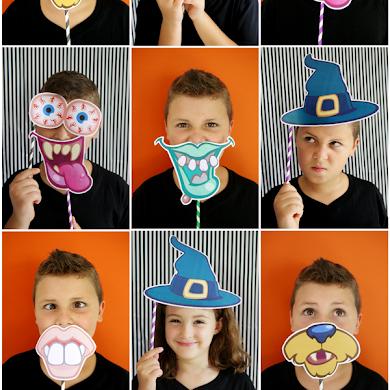 DIY Halloween Party Photo Booth with Free Printables