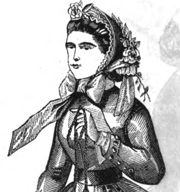 Fanchon bonnet in Peterson's, April 1865