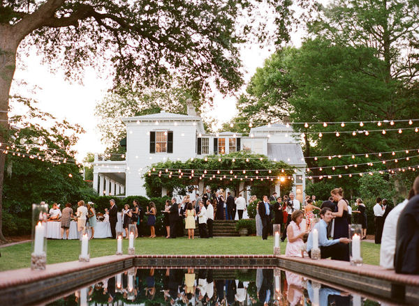 Backyard Wedding With String Lights Em For Marvelous