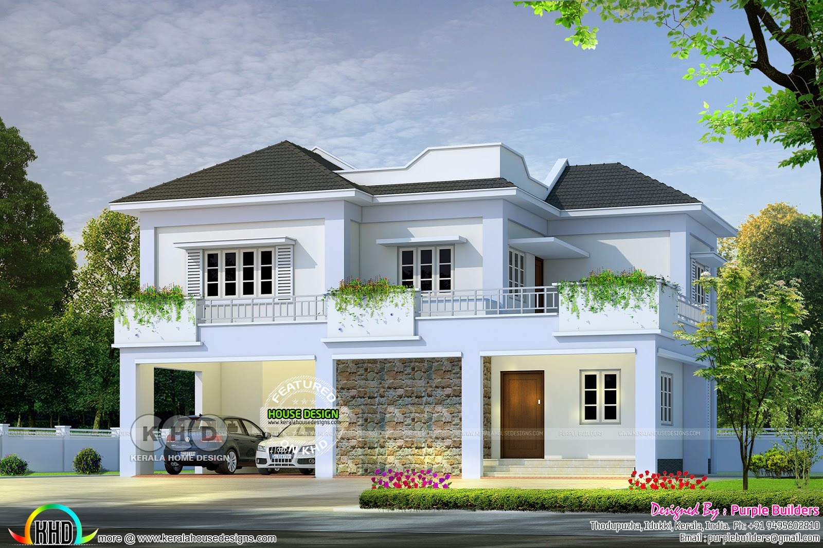 2300 square feet 4 bedroom villa plan kerala home for 4 bedroom villa designs