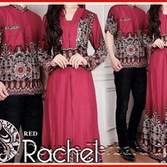 6PTH Model Gamis Batik Racel Merah Maroon Elegan Bj3006