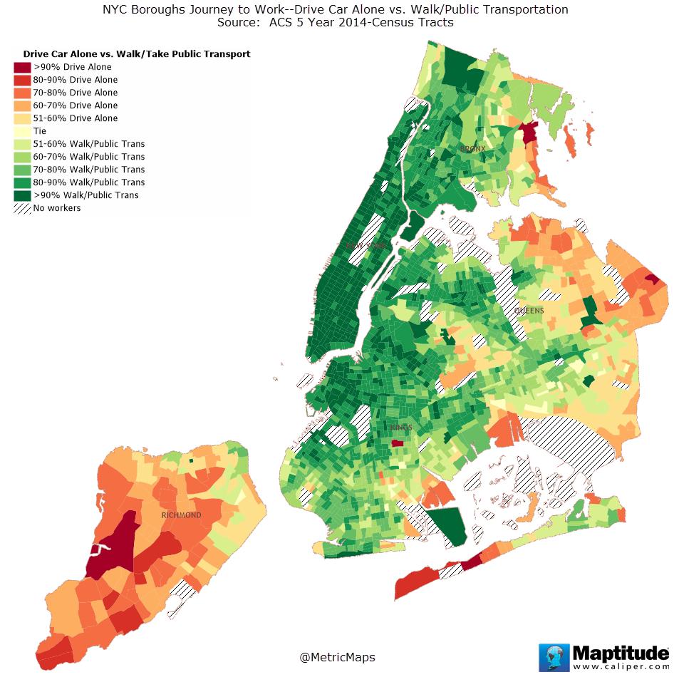 New York City boroughs journey to work-driving ca alone vs. walk/public transportation