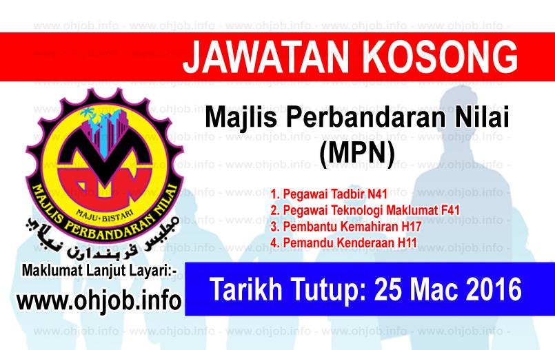 Jawatan Kerja Kosong Majlis Perbandaran Nilai (MPN) logo www.ohjob.info mac 2016