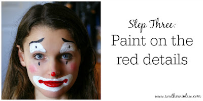 Clown Face Paint Step Three - Paint on the Red Details