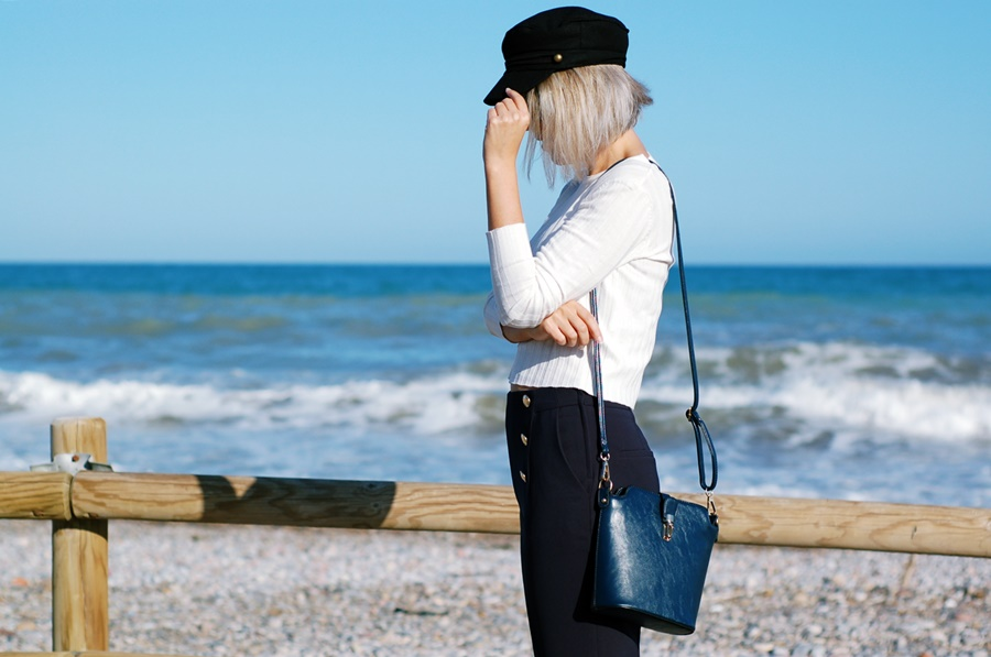 navy style asos cap blue and white street style littledreamsbyr