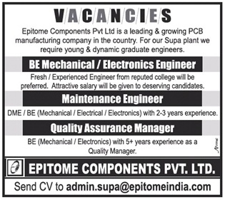 Openings with Epitome Components   Mechanical   Electronics Engineer