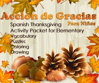 Elementary Spanish - Thanksgiving Fun Pack by AnneK at Confesiones y Realidades
