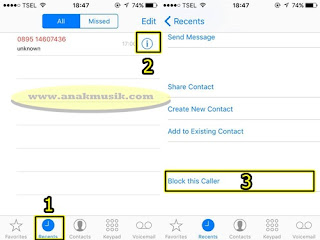Cara Blokir Nomor Telepon di iPhone Melalui Panggilan Terbaru (Recents Call)