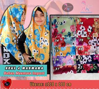 Jilbab segi empat maxmara import motif bunga murah