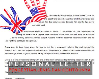 Personal Letter | PENGERTIAN BESERTA JENIS DAN CONTOHNYA