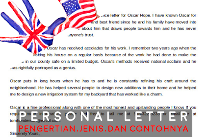 Personal Letter   PENGERTIAN BESERTA JENIS DAN CONTOHNYA   MATERI BAHASA INGGRIS KELAS XI