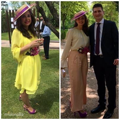 Irene de boda con dos looks y los mismos complementos, vestido amarillo y pantalones rosa nude y blusa color crudo.