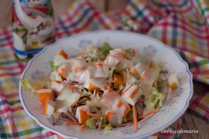 Ensalada de surimis y salsa de yogur,  Receta Quebox , SinGluten