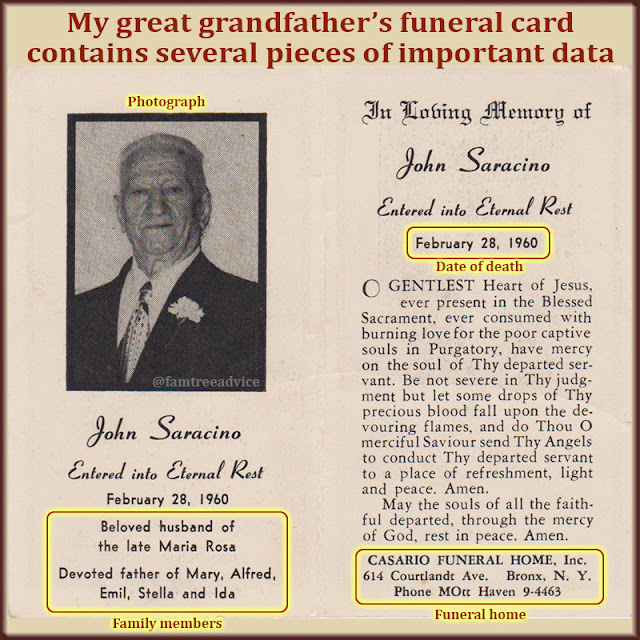 This unusual funeral card format includes a photo, family names, and a prayer, plus 2 religious images on the other side.