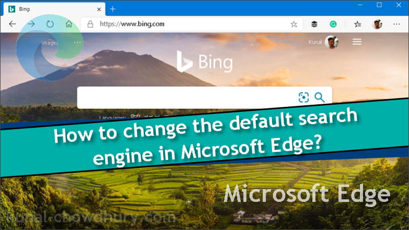 How to change default search engine in Microsoft Edge on Windows 10?