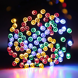 Deckey 100 LED String Light Outdoor Solar Powered Waterproof 40FT Starry Fairy Lighting Christmas Decoration Flashing Lights for Xmas Tree Patio Gardens House Yard (Multi-color)