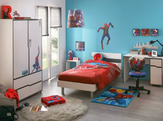 habitaci n de spiderman dormitorios colores y estilos. Black Bedroom Furniture Sets. Home Design Ideas