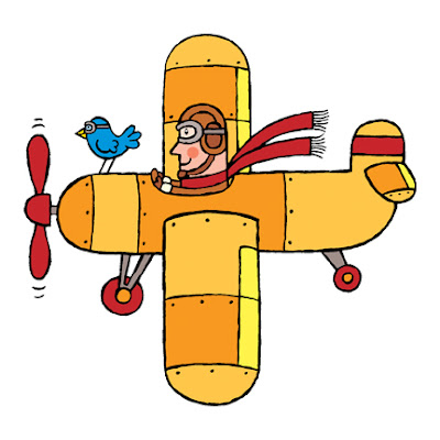 kids cartoon illustration of man flying airplane