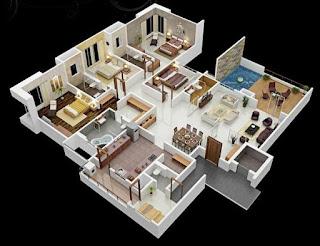 plan rumah 4 bilik