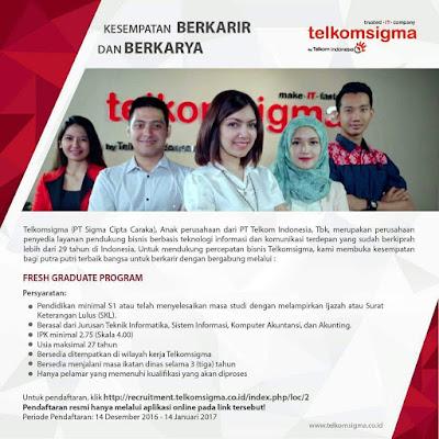 Lowongan Kerja Telkomsigma Hingga 14 Januari 2017