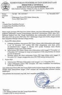 Jadwal Pretest PPG dan Postest PKB Tahun 2017-2018