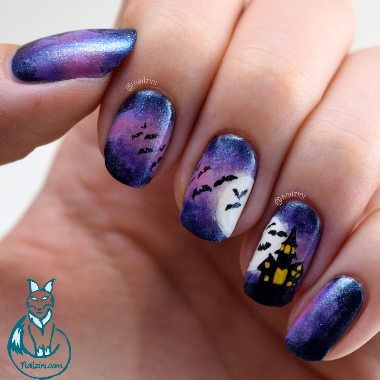 Halloween House with Bats Nail Art